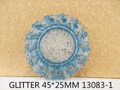 1 Piece  - 45mm - 1 inch center - Glitter Blue Frame for Resin Center -  Frozen - Accent - Flat Back Flatback