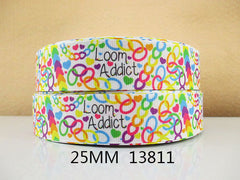 1 yard 1 inch  LOOM ADDICT MULTICOLOR - 13811  -  Printed Grosgrain Ribbon