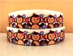 1 Yard 1 inch - CUTE MONKEY - PINK AND PURPLE FLOWERS ON WHITE  - Printed Grosgrain Ribbon