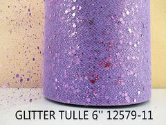 6 INCH WIDTH - GLITTER SPARKLE TULLE - LIGHT PURPLE - LAVENDER - BY THE YARD
