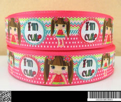 1 yard 1 inch  I'm Cute - Adorable Doll on Pink Pattern 2014618  -  Printed Grosgrain Ribbon