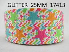 1 yard 1 inch - Glitter Colorful Stars on White 17413 - Printed Grosgrain Ribbon