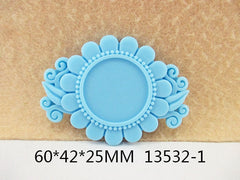 1 Piece  - 60mm - 1 inch center - Light Blue Flower Frame for Resin Center  - Accent - Flat Back Flatback
