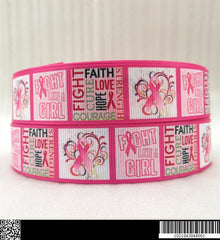 1 Yard 1 inch  - PINK BREAST CANCER AWARENESS  1043048  - Printed Grosgrain Ribbon
