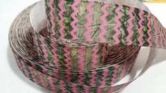1 Yard 1 inch PINK AND CAMOUFLAGE CHEVRON  -  Printed Grosgrain Ribbon