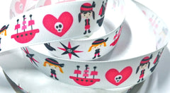 1 Yard 1 inch  CUTE PIRATE GIRLS WHITE / HOT PINK - PIRATES  -  Printed Grosgrain Ribbon