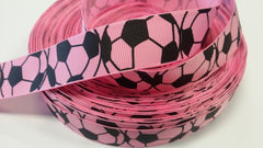 1 yard  7/8 inch Soccer Balls on Pink  -  Printed Grosgrain Ribbon