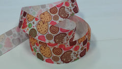 1 Yard 7/8 inch   - Sweets and Cookies and Crumbs -   Printed Grosgrain Ribbon