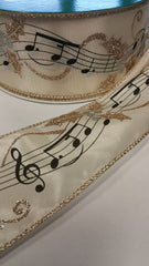 1 Yard 2.5 inch - WIRED -  Wreth GOLD GLITTER ON IVORY  - MUSIC NOTES - HOLIDAY - WREATH -  2 1/2 INCH WIDTH