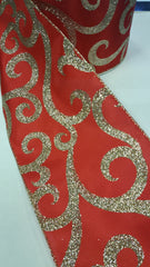 1 Yard 5 inch - WIRED - LARGE GOLD GLITTER VINES ON CHRISTMAS RED RIBBON- HOLIDAY - WREATH -  5 INCH WIDTH RIBBON