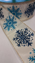 1 Yard 2.5 inch - WIRED - NAVY AND AGUA SNOWFLAKES ON BEIGE RIBBON WINTER   - CHRISTMAS - HOLIDAY  - WREATH -  2 1/2 INCH WIDTH RIBBON