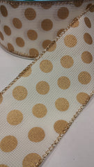 1 Yard 2.5 inch - WIRED - WOVEN OFF WHITE RIBBON WITH GOLD POLKA DOTS    - CHRISTMAS - HOLIDAY  - WREATH -  2 1/2 INCH WIDTH RIBBON