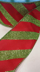 1 Yard 2.5 inch - WIRED - GLITTER GREEN AND SOLID RED VERTICAL STRIPES - CHRISTMAS - HOLIDAY  - WREATH -  2 1/2 INCH WIDTH RIBBON