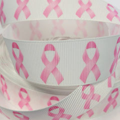 1 Yard 1 inch  Breast Cancer Pink Ribbon on White  AWARENESS -  Printed Grosgrain Ribbon