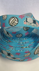 1 Yard 1 inch   - Love VOLLEYBALL on Light Blue Sports -   Printed Grosgrain Ribbon