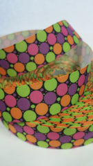 1 Yard 1 inch -Lime Green Orange Purple Hot PInk Polka Dots on Black  -Halloween -  Printed Grosgrain Ribbon