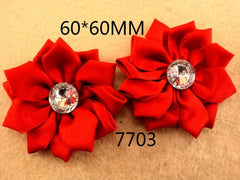 1 Piece  - RED SATIN MANY PETAL FLOWER WITH ACCENT for Headband, Hairclip, Hairbow