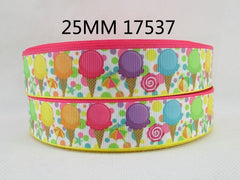 1 yard 1 inch  Ice Cream Cones 17537  - Candy - Printed Grosgrain Ribbon