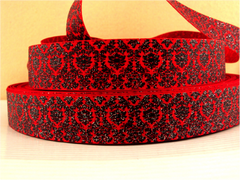 1 Yard 1 inch BLACK DAMASK WITH SILVER GLITTER ON RED RIBBON -   Printed Grosgrain Ribbon