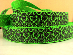 1 Yard 1 inch BLACK DAMASK WITH SILVER GLITTER ON NEON GREEN RIBBON -   Printed Grosgrain Ribbon