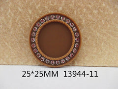 1 Piece  33 mm - 1 inch center  - Round BROWN w/ clear Crystal Frame for Resin Center - 13944-11 - Accent - Flat Back Flatback Cameo