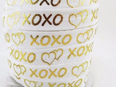 "1 Yard -  5/8"" XOXO Hearts Hugs and Kisses White Gold Foil Chevron Metallic DIY Headband Supplies Fold Over Elastic FOE per Yard"
