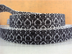 1 Yard 1 inch BLACK DAMASK WITH SILVER GLITTER ON WHITE RIBBON -   Printed Grosgrain Ribbon