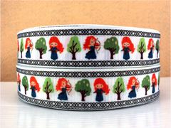 1 Yard 1 inch PRINCESS MERIDA - NEW CARTOON DESIGN WITH TREE  -   Printed Grosgrain Ribbon