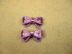 2 Piece -  SMALL Light Purple Sequin Bow Accent - Approx. 1 1/2 inch