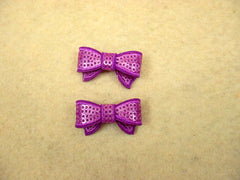 2 Piece -  SMALL  Purple Sequin Bow Accent - Approx. 1 1/2 inch