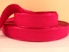 1 Yard - 1 inch HOT PINK Velvet-like with satin edge- velvet - reversible- same on both sides Ribbon.