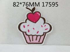 1 Piece - Embroidered Cute Cupcake Patch -   approx. 3 inches - resin - accent - center 17595