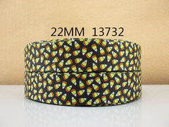 1 Yard 1 inch HALLOWEEN TINY CANDY CORN ON BLACK - 13732   - Printed Grosgrain Ribbon
