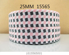 1 Yard 1 inch   - PINK AND BLACK MODERN SQUARE PATTERN ON WHITE 15565 -   Printed Grosgrain Ribbon
