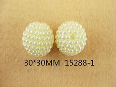 1 Piece  - 20MM ROUND BEAD 15288-1 - SMALL PEARLS - IVORY- CHUNKY - FOR NECKLACE - BRACELET BEADS