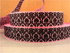 1 Yard 1 inch BLACK DAMASK WITH SILVER GLITTER ON LIGHT PINK RIBBON -   Printed Grosgrain Ribbon
