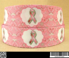 1 Yard 1 inch  -  PINK BREAST CANCER AWARENESS On Light Pink 2014772 - Printed Grosgrain Ribbon