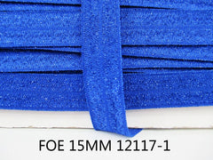 1 Yard -  5/8 inch - GLITTER ROYAL BLUE ( sparkle )  - Fold Over Elastic FOE
