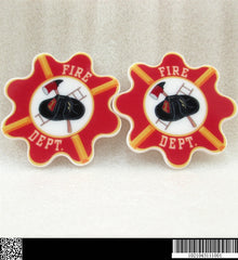 1 PIECE - Approx. 1.75 inches - Fireman Firefighter Fire Department - Flat Back Resin Accent