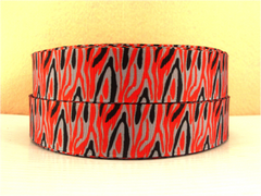 1 Yard 1 inch ZEBRA - RED, GRAY, AND BLACK - ANIMAL PRINT -  Printed Grosgrain Ribbon