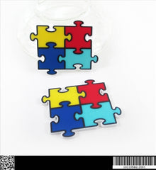 1 PIECE -  Autism Awareness Puzzle - APPROX. 1 1/2 INCHES FLAT BACK RESIN ACCENT Flatback Planar