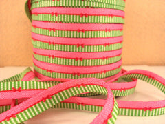 1 Yard 3/8 inch FUNKY LACES - PINK/GREEN WITH BOW  - DOUBLE SIDED - SHOE LACES - COTTON