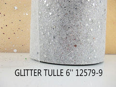 6 INCH WIDTH - GLITTER SPARKLE TULLE - SILVER - BY THE YARD