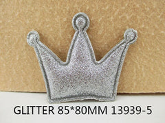 1 Piece  - 85mm - PUFFY GLITTER CROWN - SILVER - Accent - Flat Back Flatback Approx. 3 inches - PRINCESS