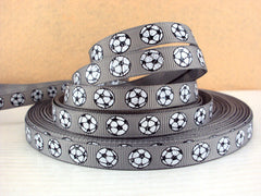 1 Yard 3/8 inch Glitter Soccer Balls on Grey / Gray (thin) - Printed Grosgrain Ribbon