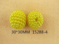 1 Piece  - 20MM ROUND BEAD 15288-4 - SMALL PEARLS - YELLOW - CHUNKY - FOR NECKLACE - BRACELET BEADS