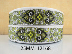 1 Yard 1 inch Elegant and Sophisticated Pattern - Yellow - Style  12168 -   Printed Grosgrain Ribbon
