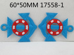 1 Piece - Embroidered Anchor Patch - Turquoise and Red  approx. 2 1/3 inches - resin - accent - center 17558-1