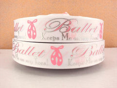 1 Yard 1 inch BALLET Keeps Me On My Toes! - WHITE with Silver Accents - Printed Grosgrain Ribbon