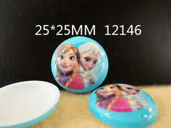 1 Piece -   FROZEN ANNA AND ELSA CIRCLE DOME RESIN no writing  - SIZE  1 inch (25mm)